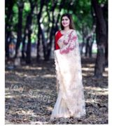 Formal Claret Embroidered Saree (2)
