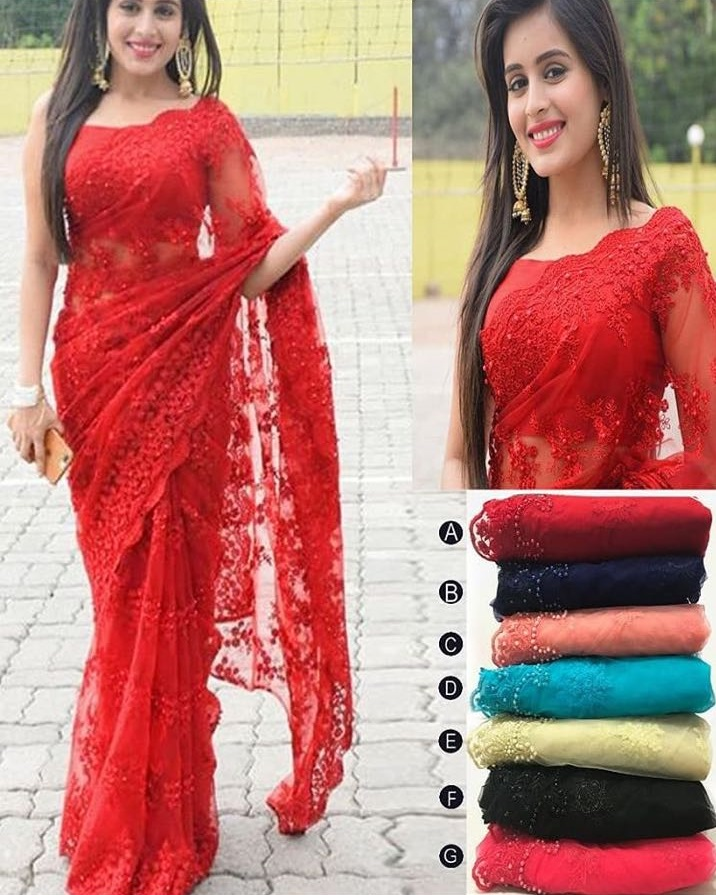 Embroidered Net Pearl Indian Saree